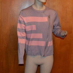 Grace Elements Purple Pink Stripe Zipper Sweater L